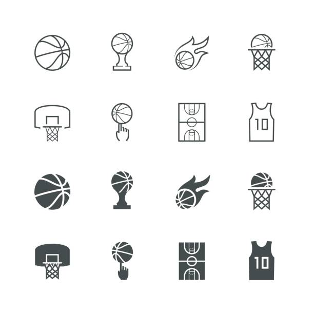 Basketball vector icon set vector art illustration