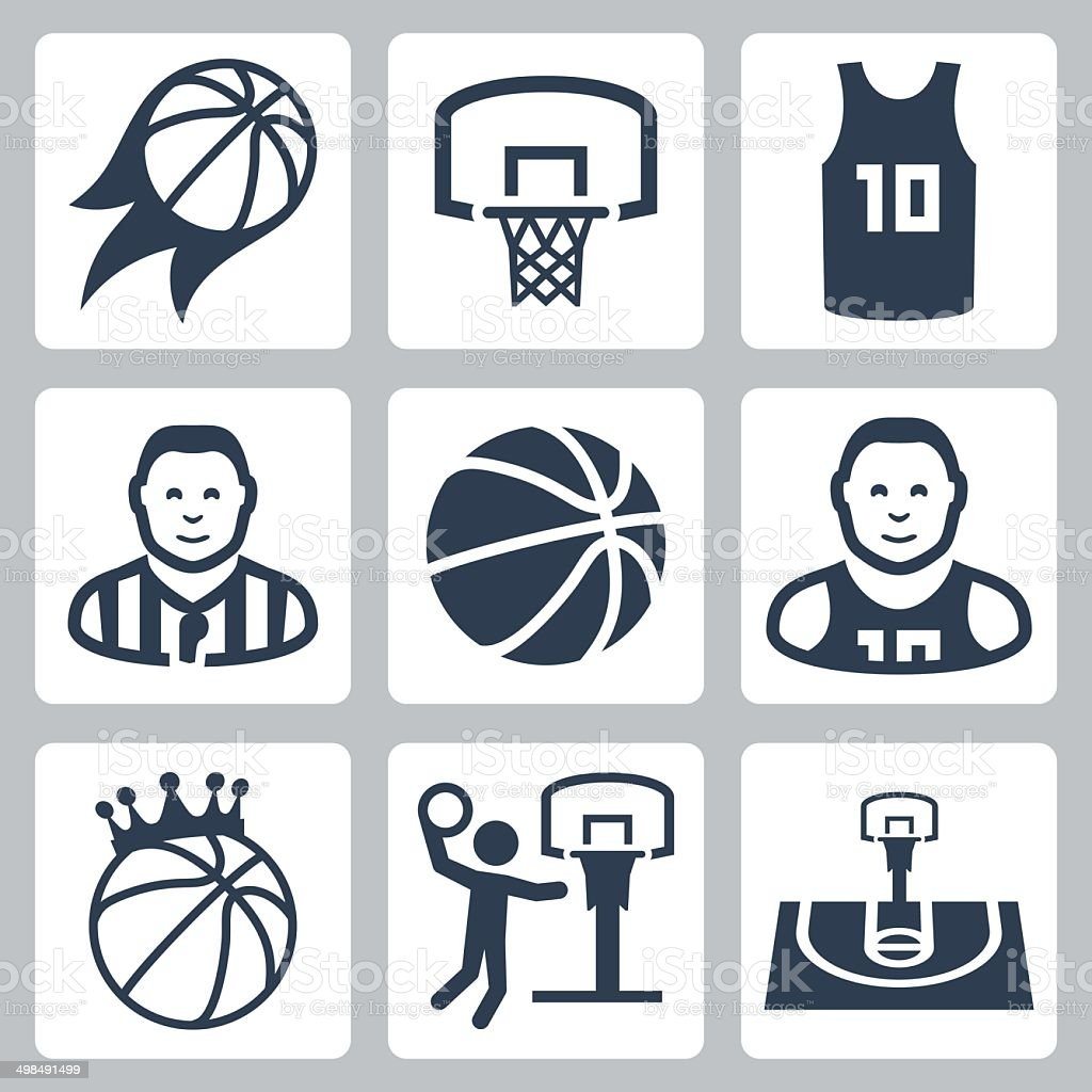 Basketball vector icons set vector art illustration