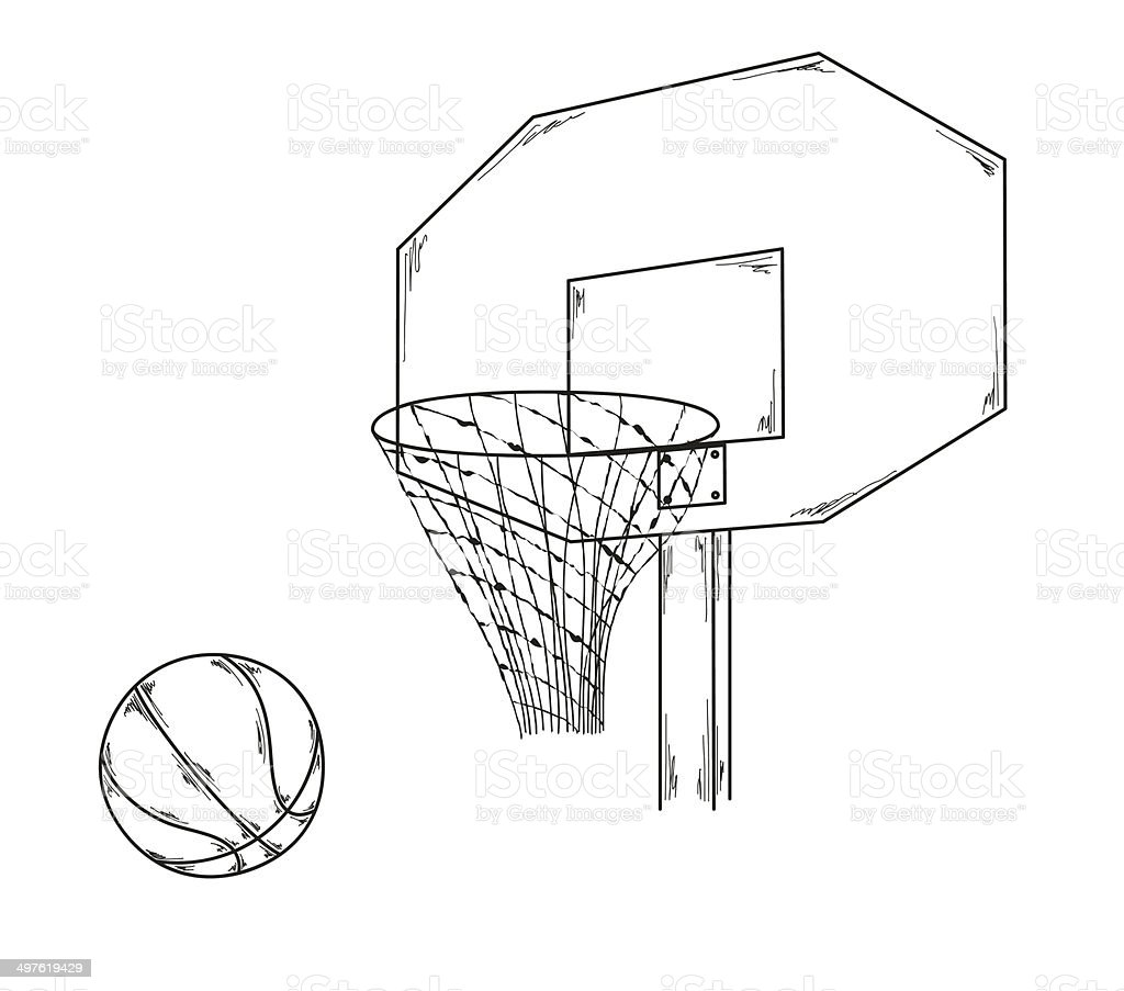 Royalty Free Drawing Of A Basketball Net Clip Art Vector Images