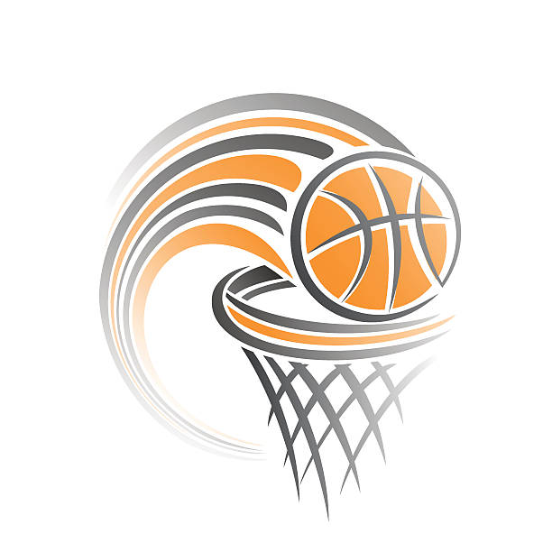 Basketball Vector illustration of the logo for basketball, consisting of flying on a trajectory basketball ball, thrown exactly in the ring with net; target hit basketball hoop stock illustrations