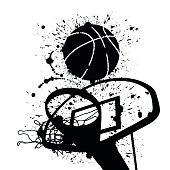 A vector illustration of a basketball hoop and a basketball  in ink splats.