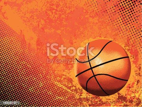 istock Basketball vector on orange background 165061971