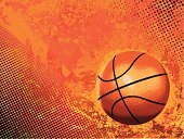 Basketball vector on orange background