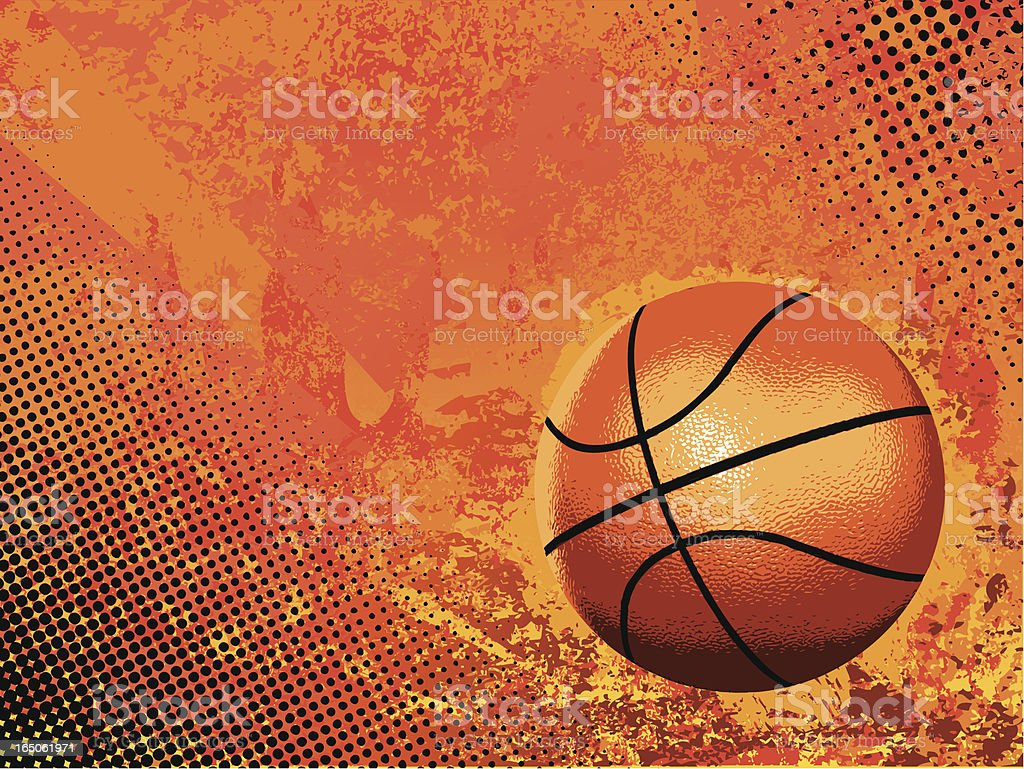 Basketball vector on orange background vector art illustration