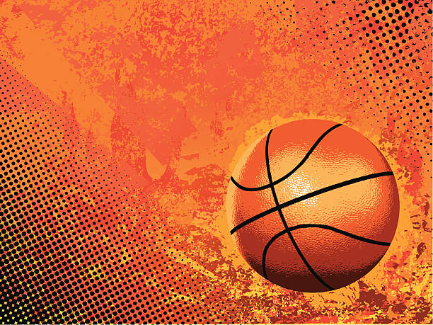Basketball vector on orange background Basketball on grunge background. basketball stock illustrations