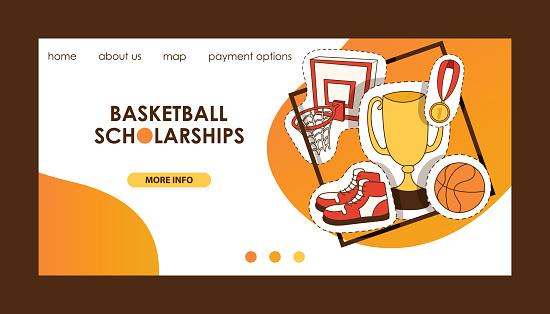 Basketball vector sport basket-ball landing page of website with net hoop on basketball-court illustration sportive web banner design backdrop illustration background