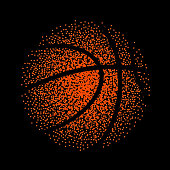 Basketball vector technology background game. Basket dots ball element activity