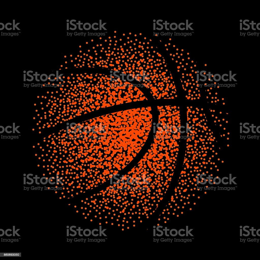 Basketball vector technology background game. Basket dots ball element activity vector art illustration