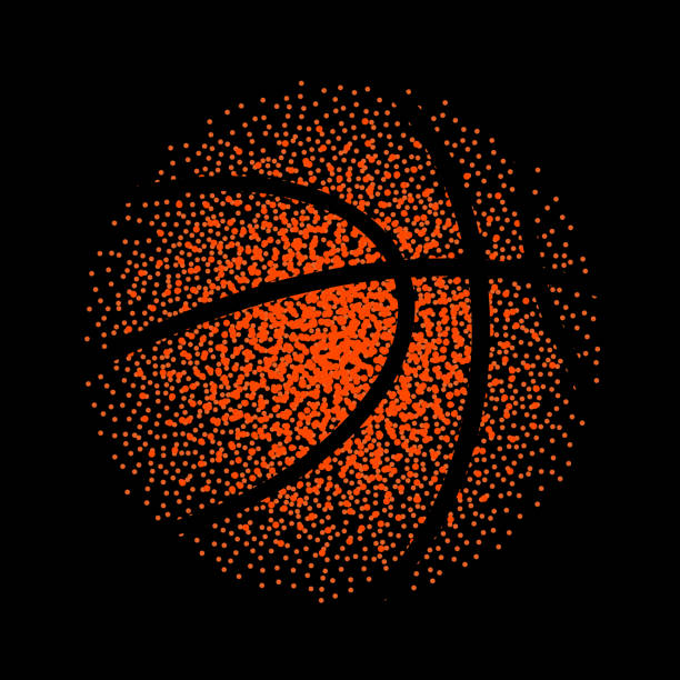 Basketball vector technology background game. Basket dots ball element activity Basketball vector technology background game. Basket dots ball element activity. basketball hoop stock illustrations