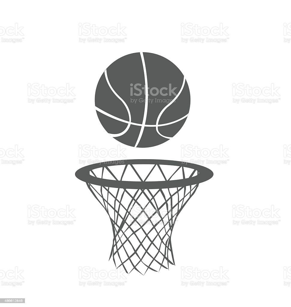 Basketball ball in hoop clipart
