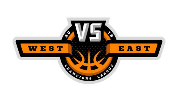 stockillustraties, clipart, cartoons en iconen met basketbal, vs, sport logo, embleem. vectorillustratie. - kampioenschap
