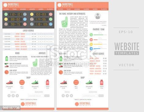 Basketball Website Templates Good For Sports Sites Stock Vector Art ...