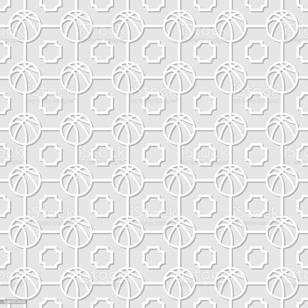White basketball background with shadow and squares