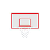 Basketball with hoop. Vector illustration isolated on white background