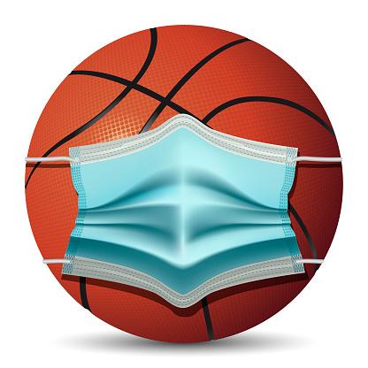 Basketball with medical mask
