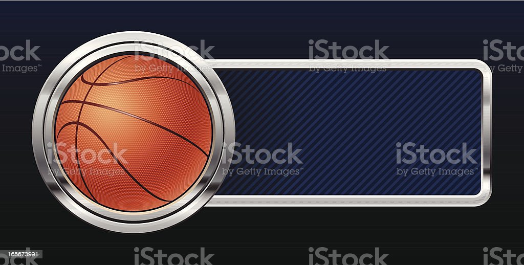 Basketball with silver lining and dark blue banner royalty-free stock vector art