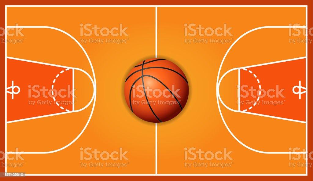 Basketball wooden court background vector art illustration