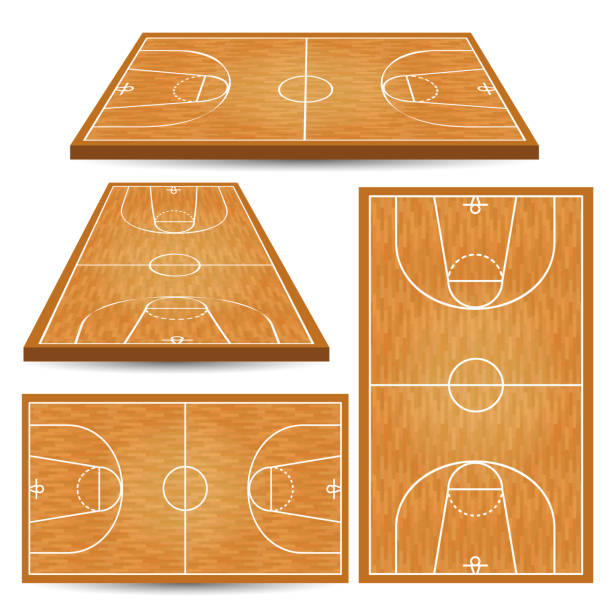Basketball wooden court background vector art illustration