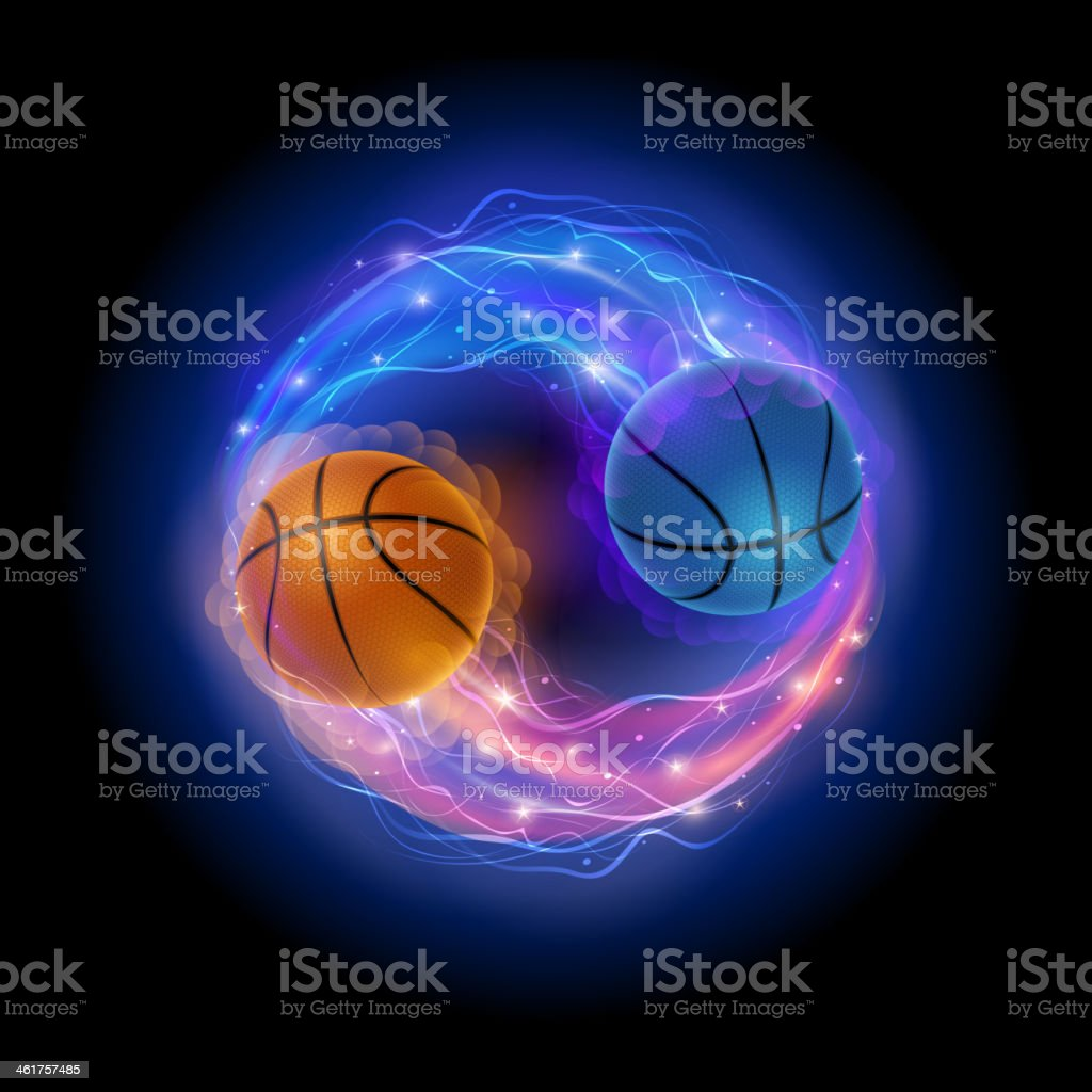 Basketball ying yang vector art illustration