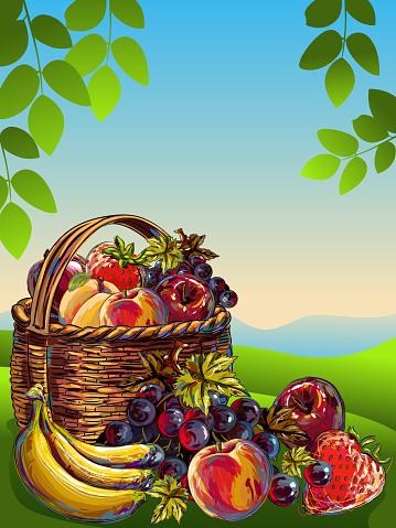 Basketful of Fresh Fruits