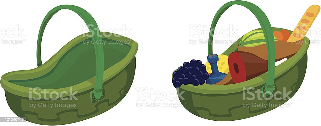 Baskets for web design is empty and full royalty-free stock vector art