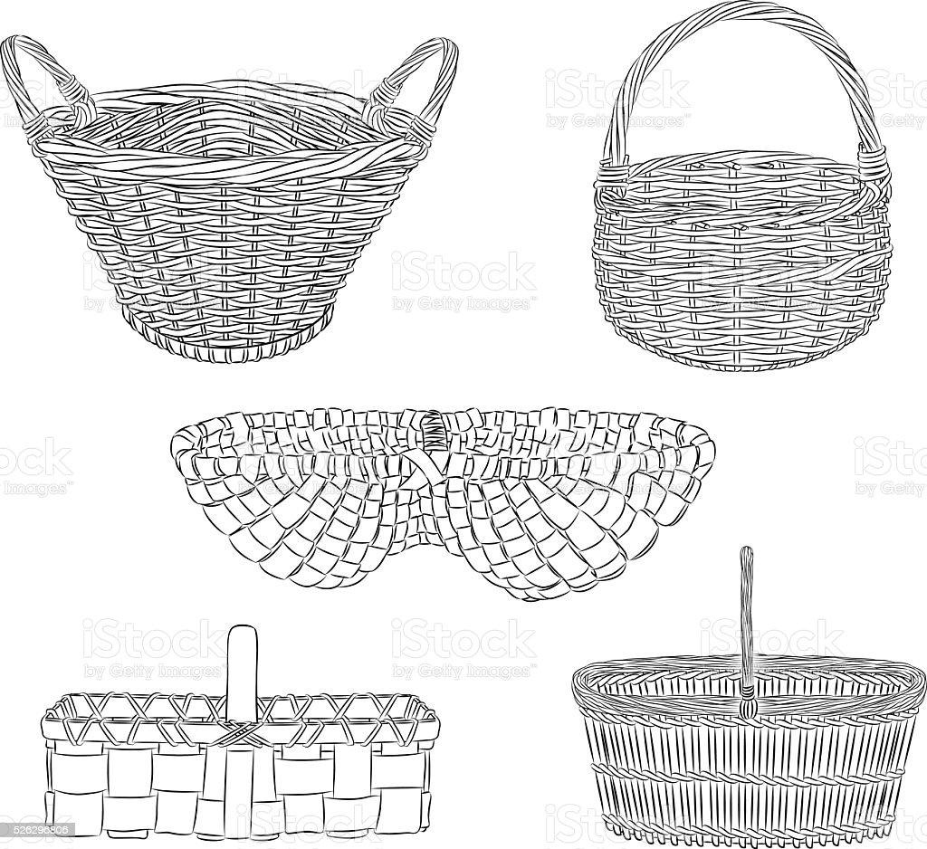 baskets vector art illustration