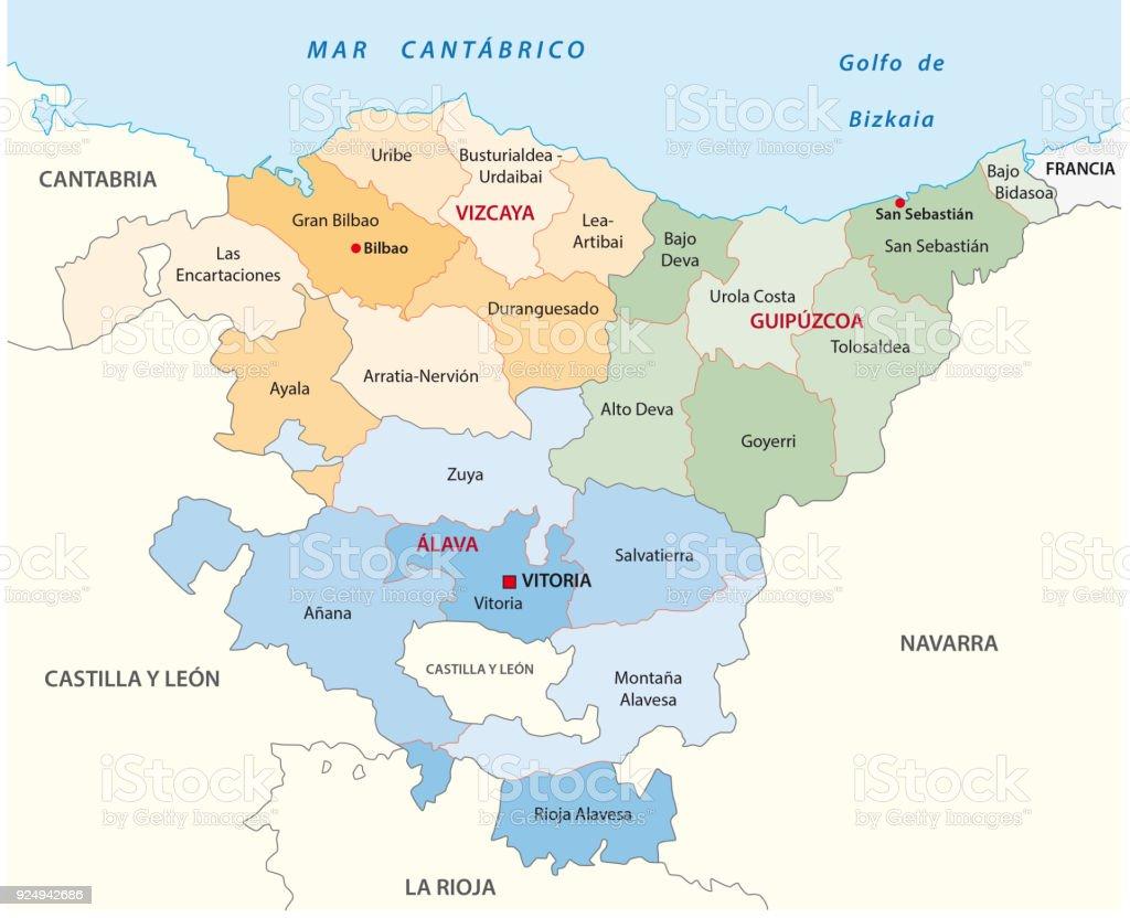 basque administrative map in spanish language vector art illustration