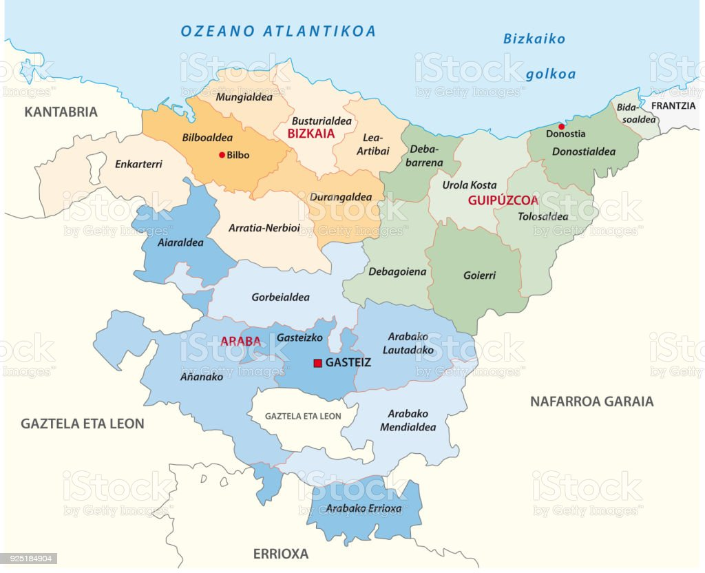 basque country administrative and political map in basque language vector art illustration