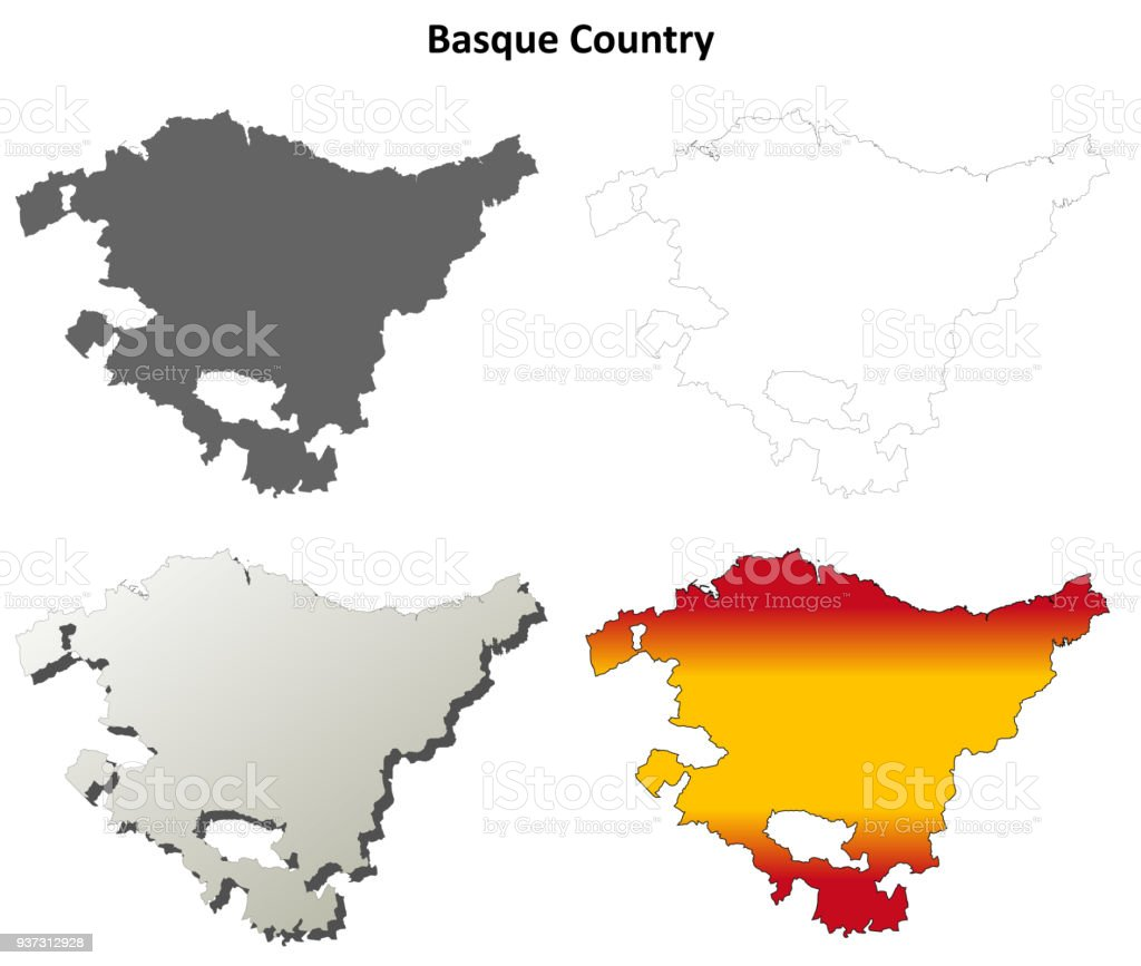 Basque Country blank detailed outline map set vector art illustration