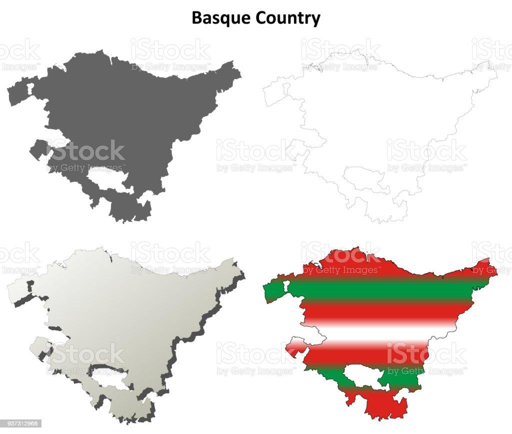 Basque Country outline map set - Basque version vector art illustration