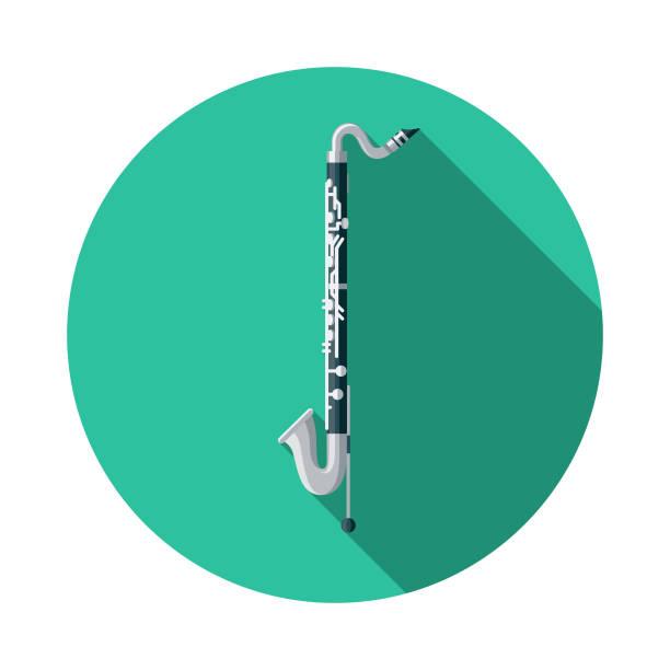 stockillustraties, clipart, cartoons en iconen met basklarinet muziekinstrument pictogram - basklarinet