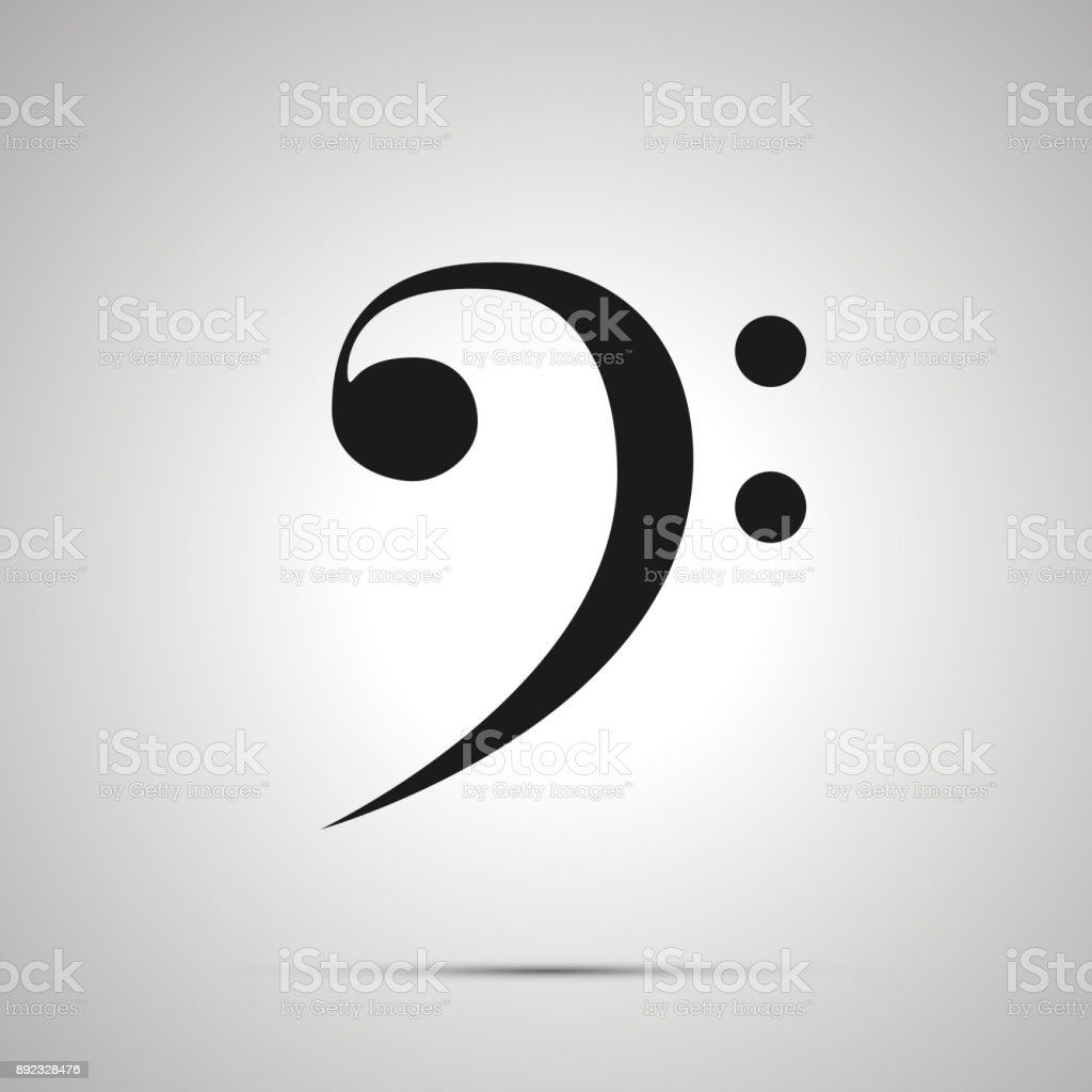 Bass clef silhouette, simple black icon with shadow vector art illustration
