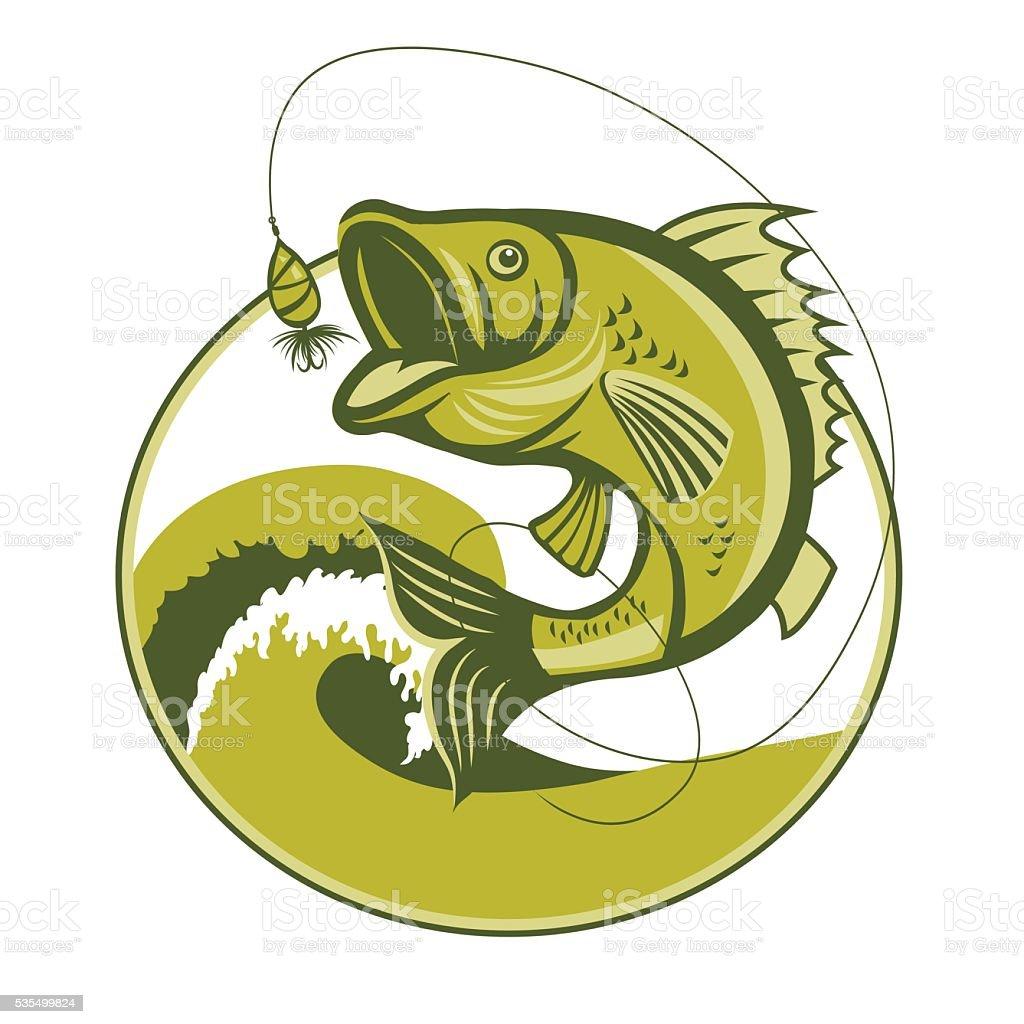 Басс рыбы. Басс рыбалка Воблеры. Басс Рыболовная снасть. векторная иллюстрация