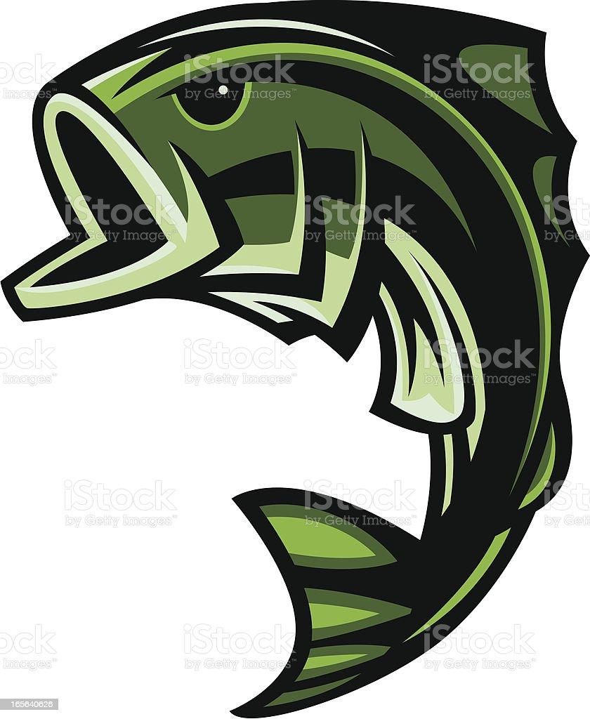 Bass Fish Jumping II royalty-free stock vector art