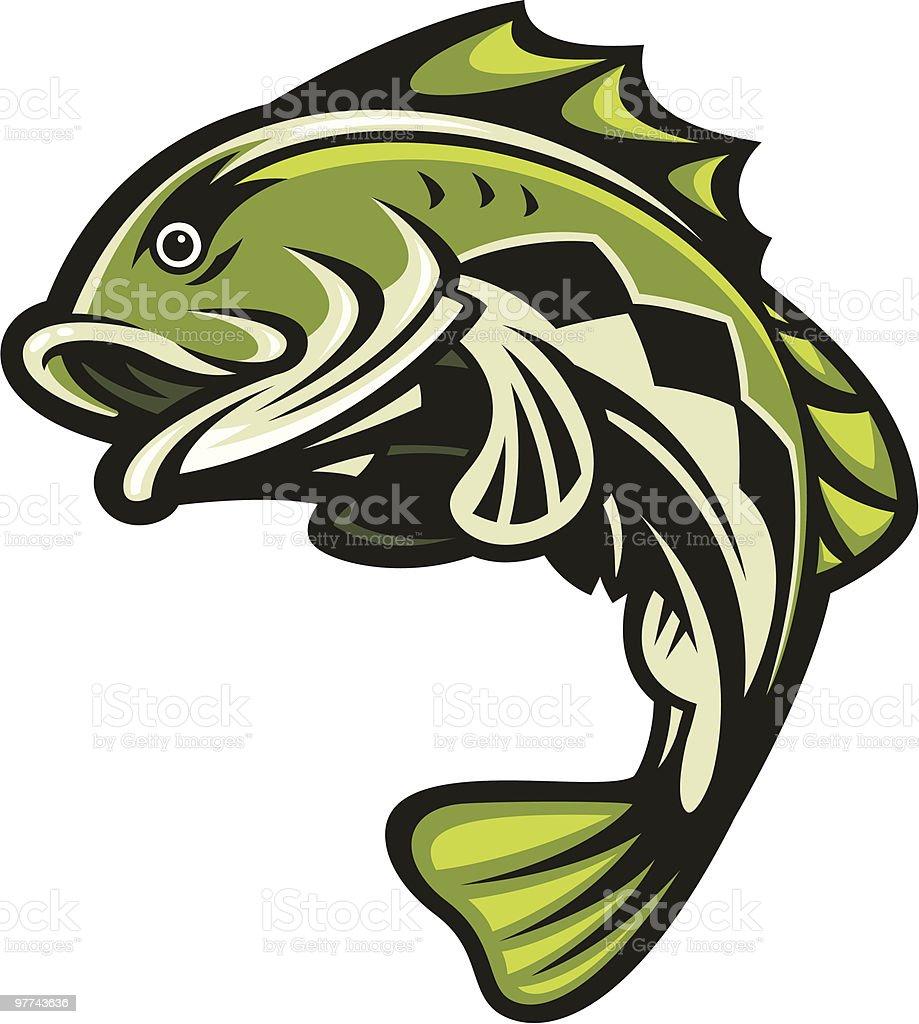 Bass Fish Jumping vector art illustration