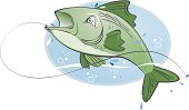 Cute vector cartoon of a fish jumping out of the water with a hook. Alternative files include illustrator, freehand and PDF.