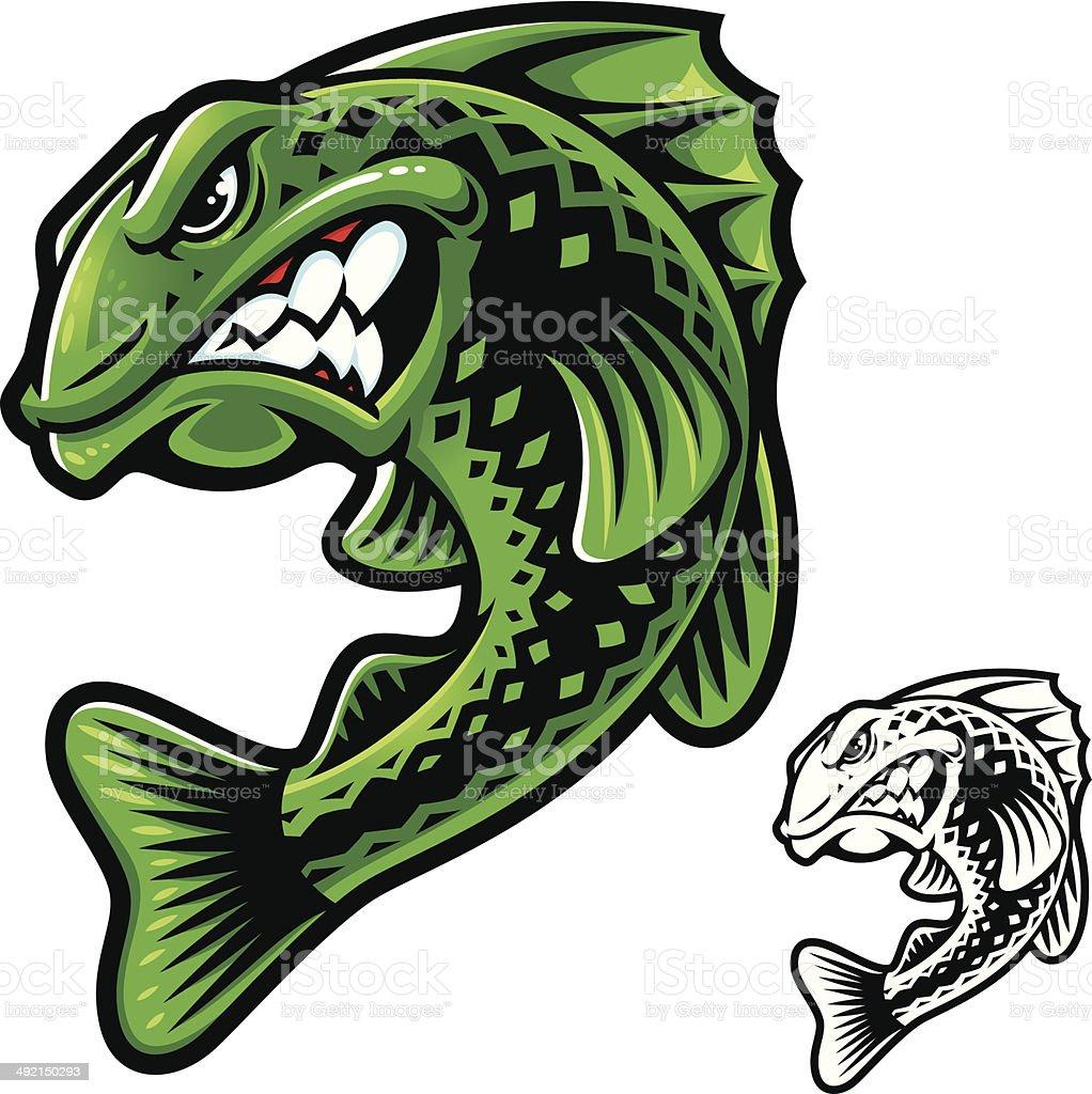 Бас рыба мощности векторная иллюстрация