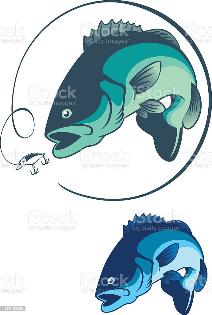 bass fish vector art illustration