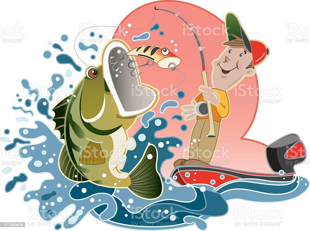 Bass Fisherman vector art illustration