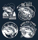 Fishing labels, badges, emblems and design elements. Illustrations of Bass