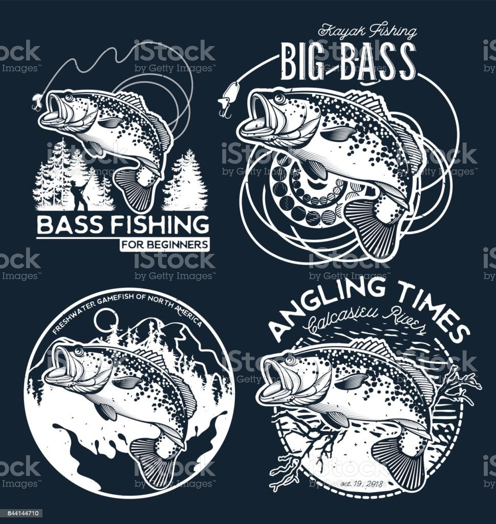 Bass Fishing emblem on black background. Vector illustration. vector art illustration