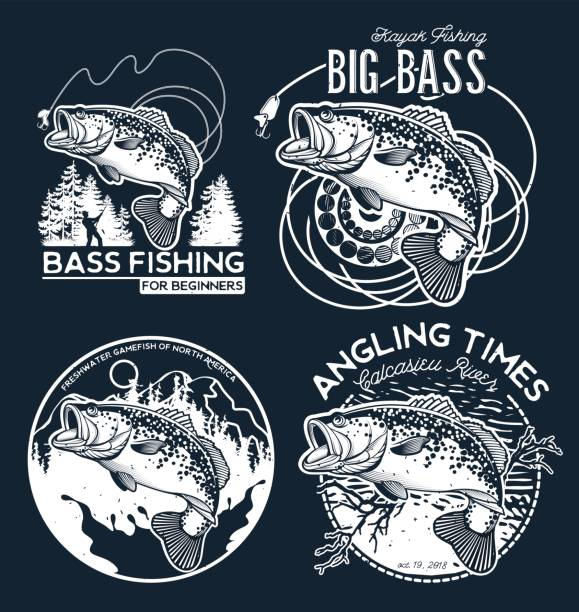 Emblème de Bass Fishing sur fond noir. Illustration vectorielle. - Illustration vectorielle