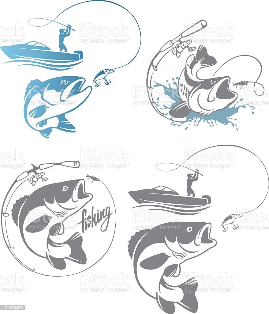 Басс рыбалка логотипом векторная иллюстрация