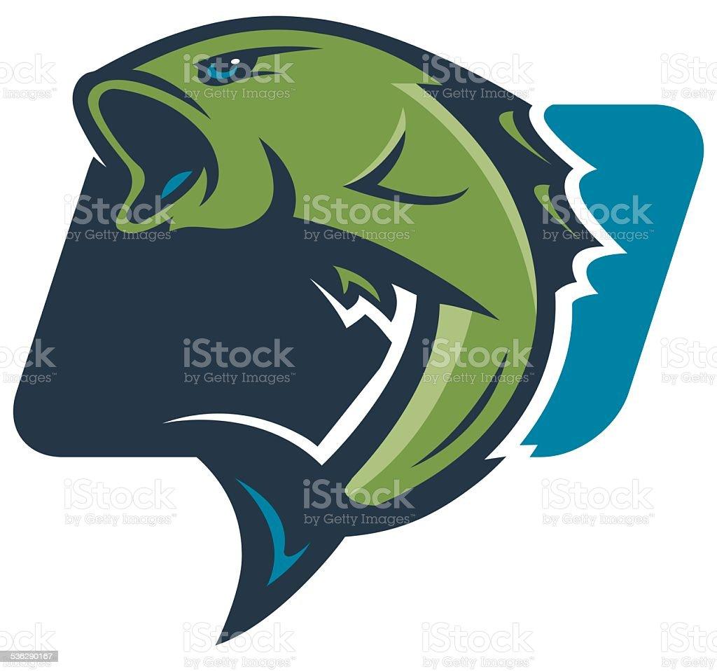 Бас рыбалка логотипом векторная иллюстрация