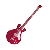 Bass guitar flat icon. Rock and roll, electric guitar, jazz. Musical instrument concept. Vector illustration can be used for topics like music, leisure, concert