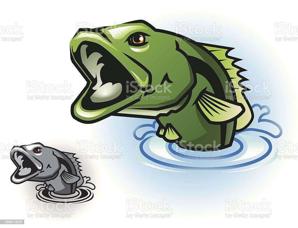 Bass Jumping vector art illustration