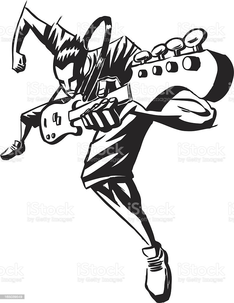 Aggression Arts Culture And Entertainment Funky Guitar Illustration Bass Player