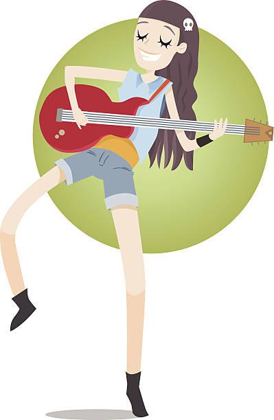 bildbanksillustrationer, clip art samt tecknat material och ikoner med bass player - happy indie pop