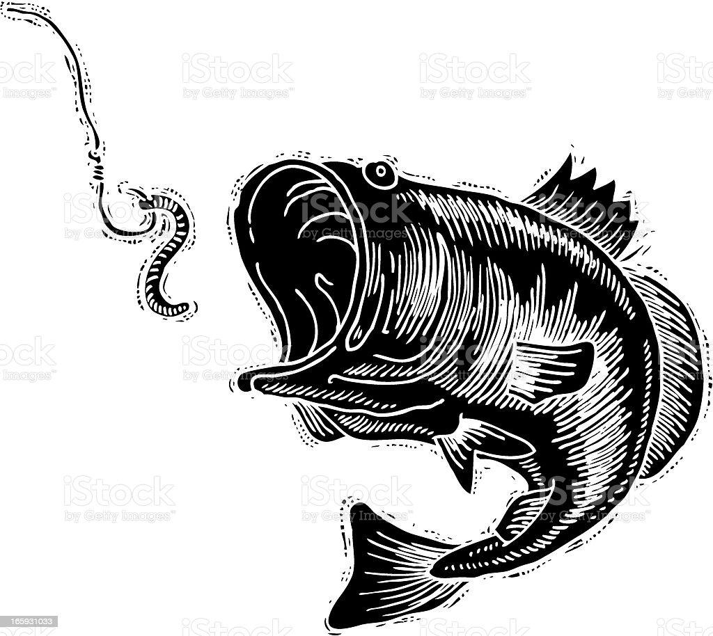 Bass reverse ink vector art illustration