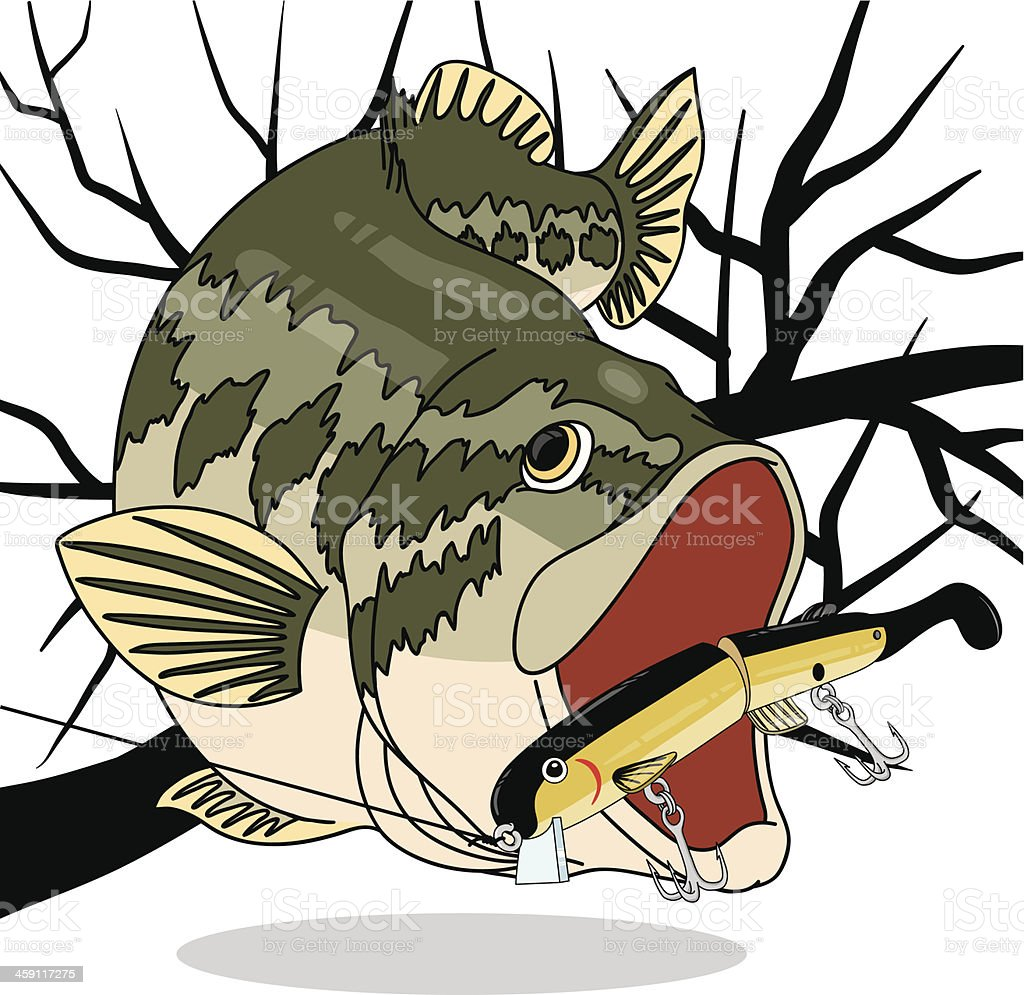 Bass_ChasingBigBait vector art illustration